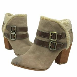 Libby Edelman Christina Taupe Suede Ankle Boots